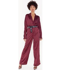 womens such an animal satin batwing jumpsuit - red