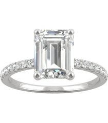 charles & colvard moissanite (2-1/2 ct. t.w. dew) emerald-cut engagement ring in 14k white gold
