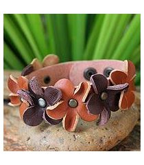 leather wristband bracelet, 'woodland flowers' (thailand)