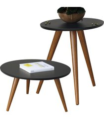 kit mesa lateral com mesa de centro decorativa lyam decor sofia preto