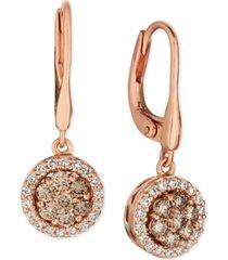 le vian champagne diamond halo dangle drop earrings (3/4 ct. t.w.) in 14k rose gold