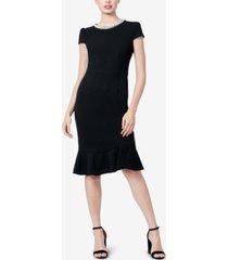 betsey johnson petite embellished ruffle-hem sheath dress