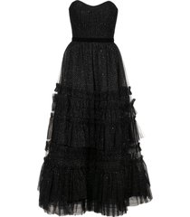 marchesa notte ruffled tiered strapless gown - black