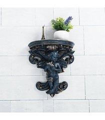 planta de la maceta del colgante de pared de yeso de ángel cupido corbel plataforma rococó arte - azul oscuro