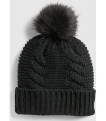 lane bryant women's cable-stitch beanie with faux-fur pom pom onesz black