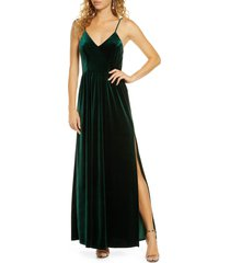 women's lulus final song strappy back velvet gown, size large - green