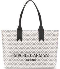 emporio armani all-over logo tote bag - white
