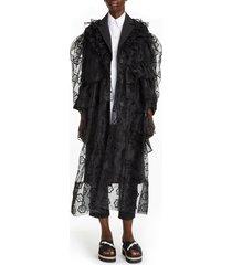 women's simone rocha daisy ruffle organza coat, size 6 us / 10 uk - black