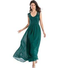 vestido fiesta canesú encaje verde nicopoly