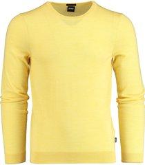 hugo boss pullover leno-p geel slim fit 50378575/738