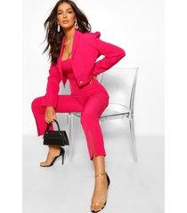 getailleerde toelopende broek met split, warm roze