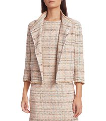 akris punto cropped tweed jacket - cream tangerine - size 12