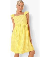 zwangerschap gingham zonnejurk met rug strik, yellow