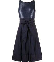 lauren ralph lauren yuko metallic-taffeta dress - blue