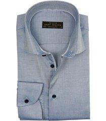 shirt john miller tailored fit blauw katoen