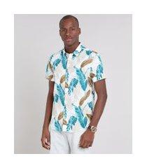 camisa masculina comfort estampada de folhagem manga curta off white