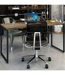 mesa para escritório kuadra carvalho dark 141 - compace