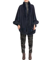 fox fur-trim embroidered wool & cashmere cape