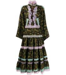 natasha zinko camouflage-print ruffle dress - green