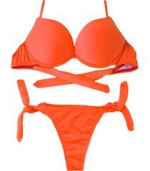 biquíni bojo bolha alça estreita divance havana laranja neon calcinha de amarração lateral