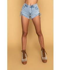 akira adriana lace up denim shorts