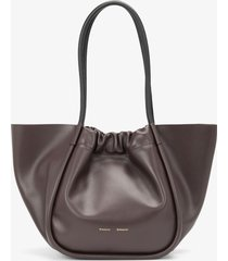 proenza schouler large ruched tote chocolate plum/brown one size