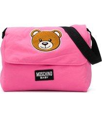 moschino kids bolsa tiracolo com estampa de logo teddy - rosa