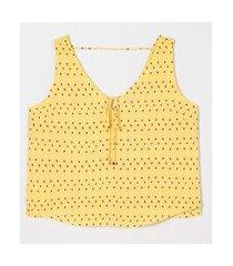 blusa regata estampa gotinhas com amarração | a-collection | amarelo | m