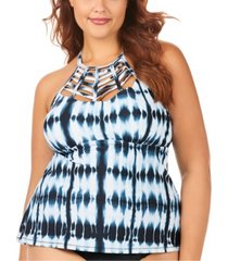 raisins curve trendy plus size juniors' fiji printed boa high neck tankini top women's swimsuit