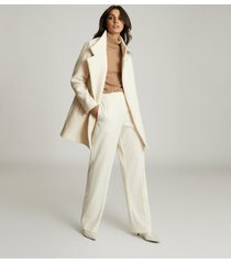 reiss sicily - wool blend mid length coat in cream, womens, size 12