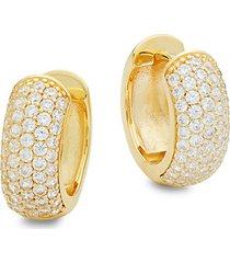 goldplated sterling silver & simulated diamond huggie earrings