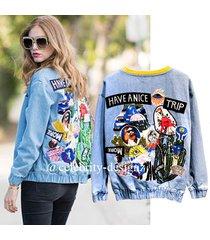 jk71 cflb ladies hippie vintage sequin shiny denim bomber jacket 6 8 10 12