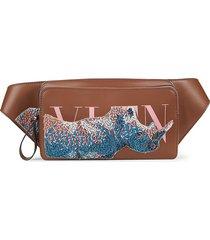 valentino garavani men's beaded rhino leather waist bag - cuir pink