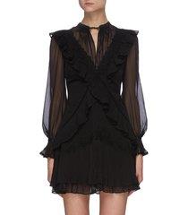 cross front frill sheer mini dress