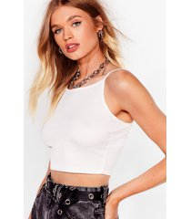 womens strap out of it ribbed racer top - white