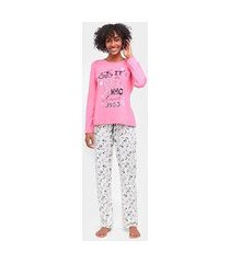 pijama longo three hands estampado feminino