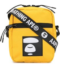 aape by *a bathing ape® embroidered patch messenger bag - yellow