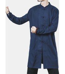 plus taglia pulsanti cinese soft giacca in lino di cotone lungo per uomo