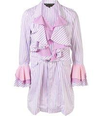 comme des garçons homme plus striped ruffled coat - pink