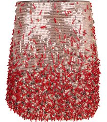 sequin coral mini skirt
