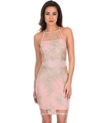 ax paris back and gold mesh embroidered dress