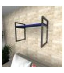 prateleira industrial para sala aço preto prateleiras 30 cm azul escuro modelo ind03azsl