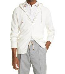 men's brunello cucinelli cashmere zip front hoodie, size 56 eu - white