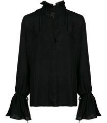 nili lotan demi ruffled-neck blouse - black