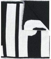 philipp plein cachecol de tricô com logo - preto