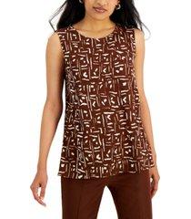 alfani printed textured sleeveless top, created for macy's