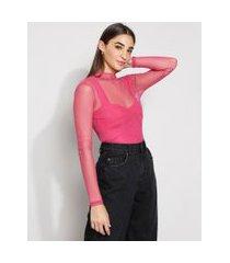 blusa de tule feminina cropped manga longa gola alta rosa
