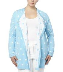 anne klein plus size dot-print jacquard drapey cardigan