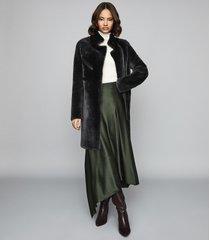 reiss alexia - longline shearing coat in charcoal, womens, size xl