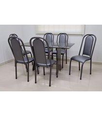 conjunto cozinha verona 1,40 com granito c/6 cadeiras roma almofadada açomix